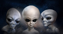 Three Different Grey Aliens On The Background Of Cosmic Sky And Galaxy. 3D Illustration. Wallpaper.