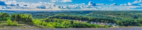 Fond de hotte en verre imprimé Bleu France Paysage Lorraine vue panoramique de la Site des carrières de Freyming-Merlebach vers Carling et Creutzwald