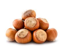 A Pile Of Hazelnuts Close - Up...