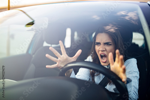 Fotografie, Obraz  Stressed woman driver sitting inside her car