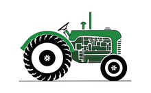 Vintage Green Farm Tractor Vector Drawing