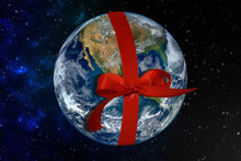 "Planet Earth With Red Ribbon ""..."