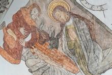 Medieval Fresco Of The Nativit...