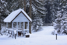 Snowy Wooden Gazebo And A Snow...