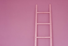 Pink Staircase On Pink Wall Background. Concept Of Women's Success, Career, Self-education, Development. Minimalism