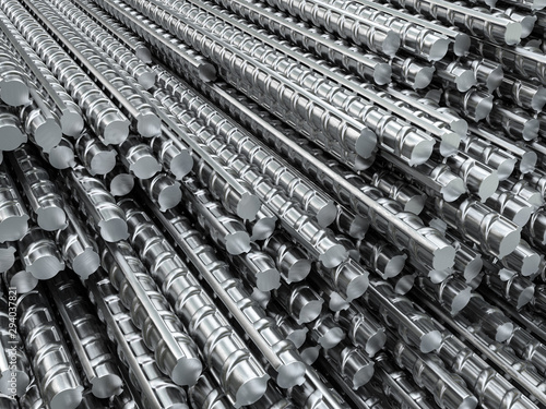 Photo Reinforcing steel bars in warehouse
