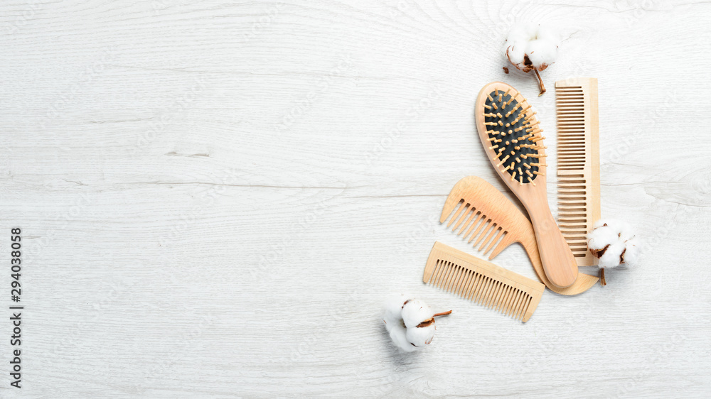 Fototapety, obrazy: Wooden hair brushes. Hair Care. Makeup.