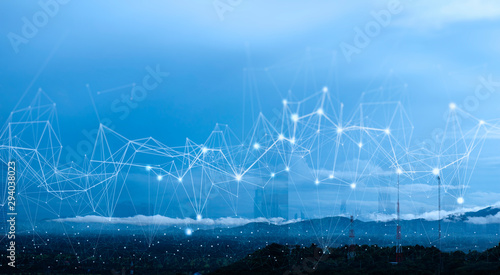 Foto auf AluDibond Himmelblau Wireless network and Connection technology concept with Abstract Bangkok city and landscape background