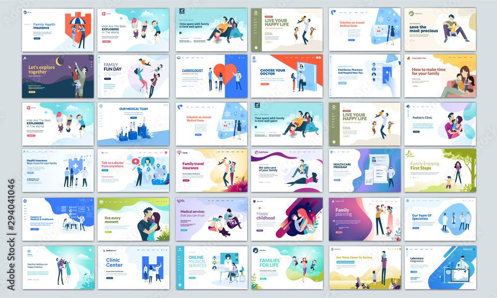 Fototapeta Big Collection of Modern design website template, Set of web page design templates for business, management app, consulting, social media marketing. Modern vector illustration concepts