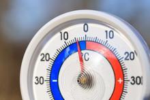 Outdoor Thermometer Shows Subzero Temperature - Cold Wave Concept