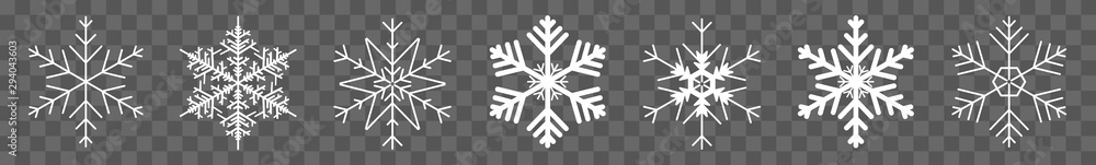 Fototapety, obrazy: Snowflake Icon White | Snowflakes | Ice Crystal Winter Symbol | Christmas Logo | Xmas Sign | Isolated Transparent | Variations