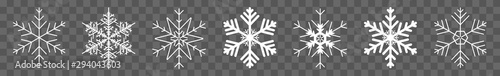 Obraz Snowflake Icon White | Snowflakes | Ice Crystal Winter Symbol | Christmas Logo | Xmas Sign | Isolated Transparent | Variations - fototapety do salonu