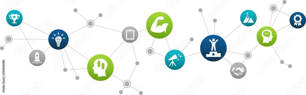 Fototapeta motivation icon concept: improvement / goals / teamwork / ambition connected symbols – vector illustration