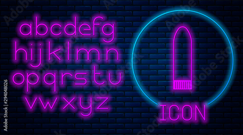 Glowing neon Dildo vibrator for sex games icon isolated on brick wall background Fototapete