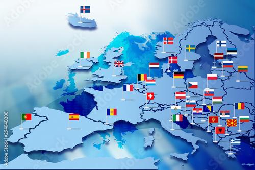 Obraz na plátně  Europa Infografika z flagami państw