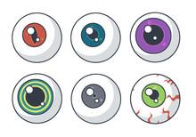 Vector Drawing Variations Of Different Spooky Halloween Eyeballs