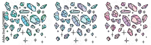 Crystal doodles. Hand drawn gemstones doodles isolated on white. Fototapete