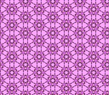 Abstract Fractal Kaleidoscope Seamless Pattern In Pink, Yellow, Black Colors.