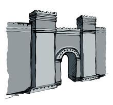 Babylonian Gate. Vector Drawing Scene