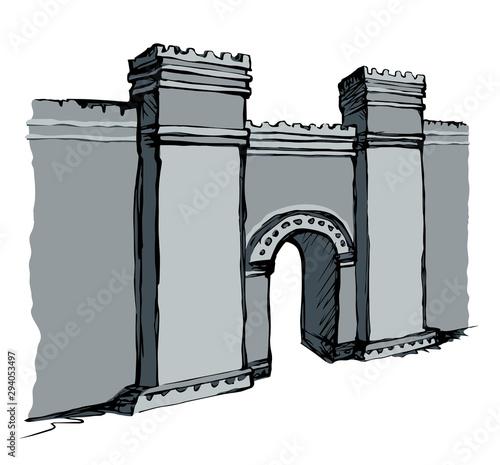 Babylonian Gate. Vector drawing scene Canvas Print