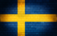 Swedish Flag Painted On The Wall