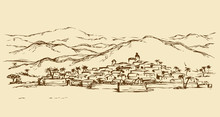 City In A Desert. Vector Drawing