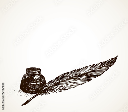 Vector freehand drawing of ancient pen and inkwell Canvas Print