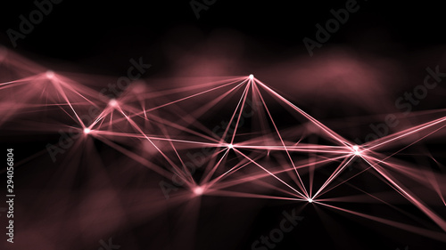 Abstract digital background. Space filled with polygons and dots. 3D wave.
