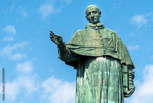 Photo View of copper Saint Carlone Borromeo statue, Arona, Piedmont, Italy