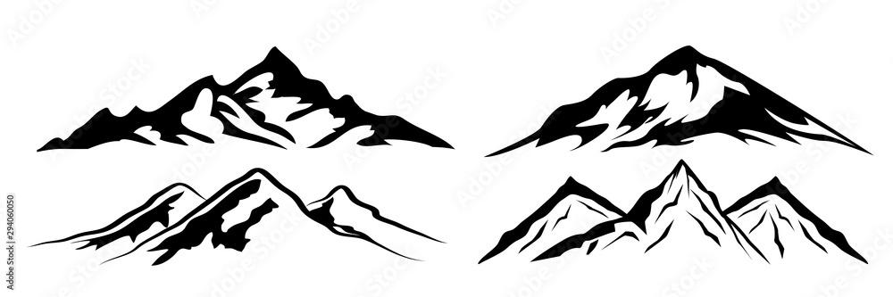 Fototapeta Set mountain ridge with many peaks - stock vector