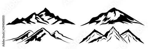 Photo Set mountain ridge with many peaks - stock vector