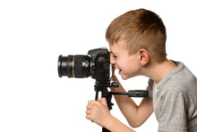 Smiling Schoolboy Takes Pictur...