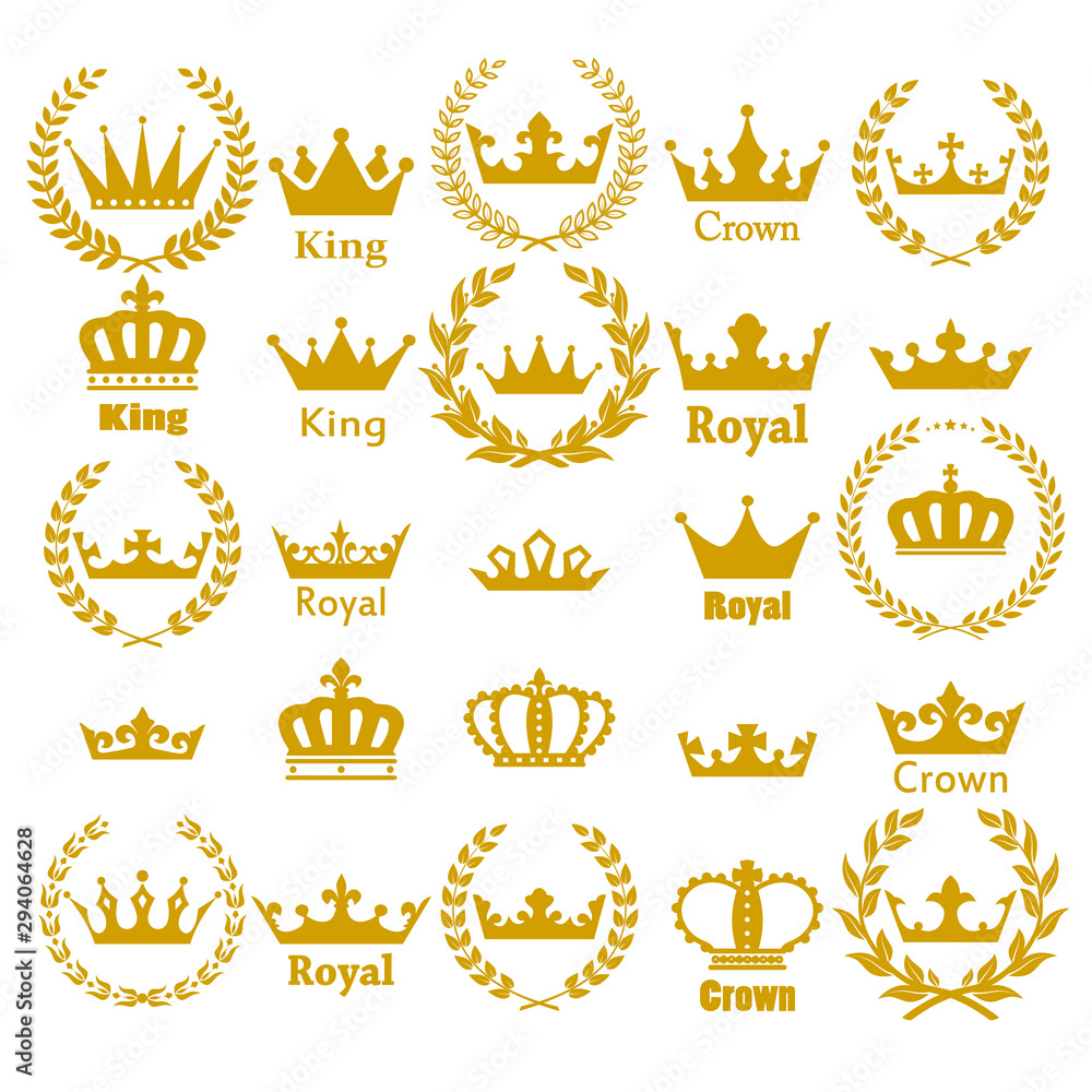 Fototapeta Crown icon set heraldic symbol vector illustration.