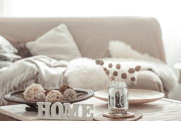 Fototapeta na wymiar Cozy bright living room with sofa and pillows.