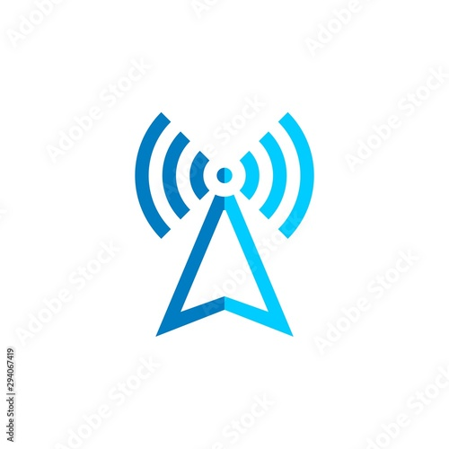 Fototapeta  Signal Tower Icon Logo Template Illustration Design