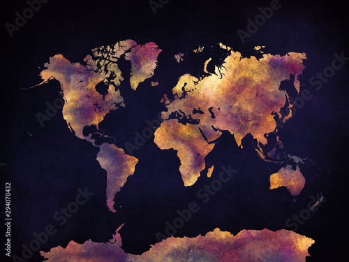 Watercolor world map artistic design, superior quality, colorful textures, moder Wallpaper Mural