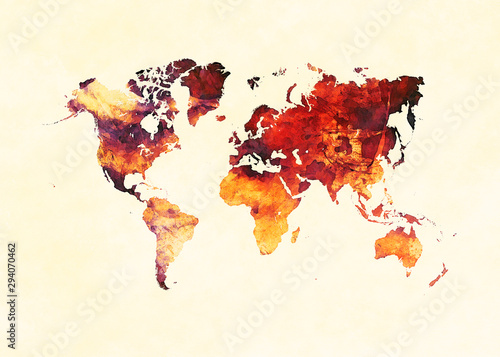 Watercolor world map artistic design, superior quality, colorful textures, moder Canvas Print