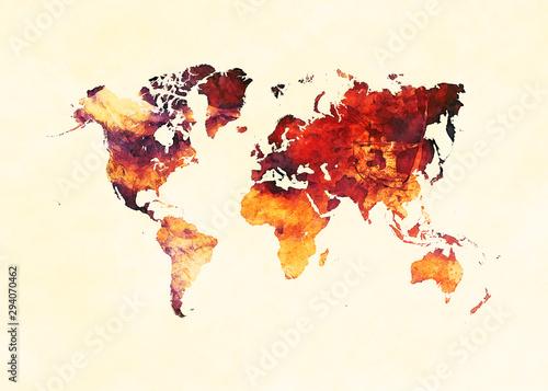 Fototapeta Watercolor world map artistic design, superior quality, colorful textures, moder