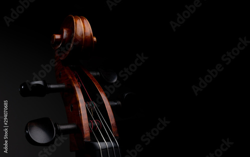 A close up high resolution image of a cello scroll, peg box, and tuning pegs iso Fototapete