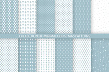 Collection Of Blue Minimal Seamless Christmas Patterns. Christmas And New Year Design. Vector Illustration With Trees, Snowflakes And Stars