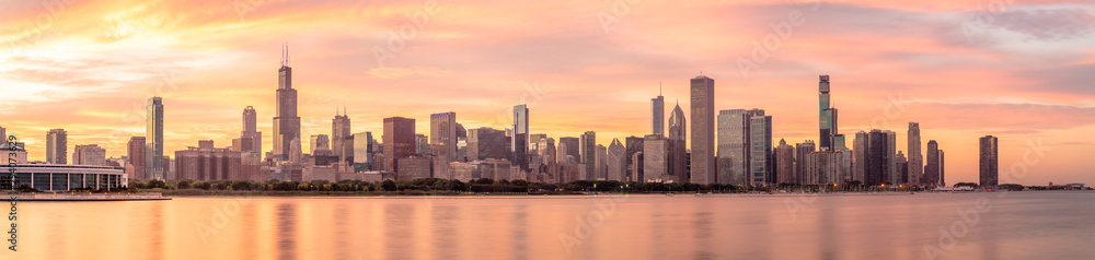 Chicago downtown buildings skyline panorama <span>plik: #294073629 | autor: blvdone</span>