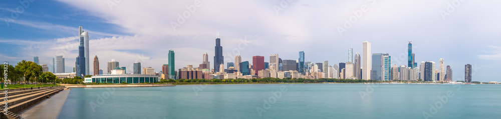 Fototapety, obrazy: Chicago downtown buildings skyline panorama