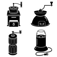 Coffee Grinder Icons Set. Simp...