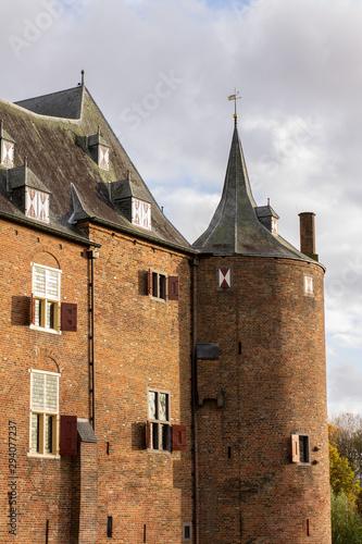 Fototapeta Facade of a Brick European Medieval - 12th Century - Castle