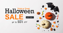 Halloween Sale Banner With Hal...