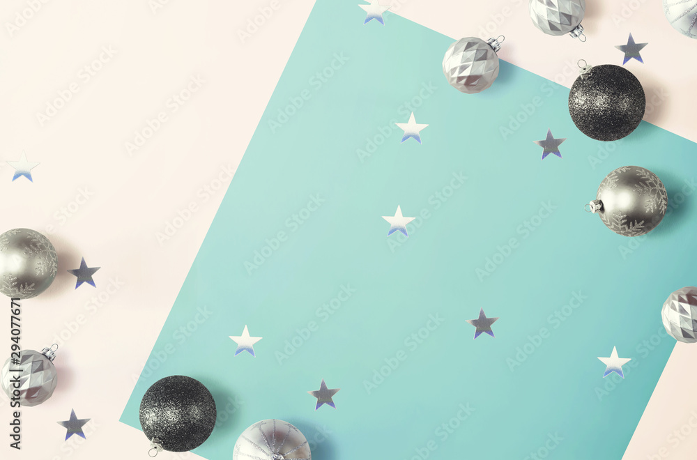 Fototapety, obrazy: Christmas bauble ornaments - overhead view flat lay