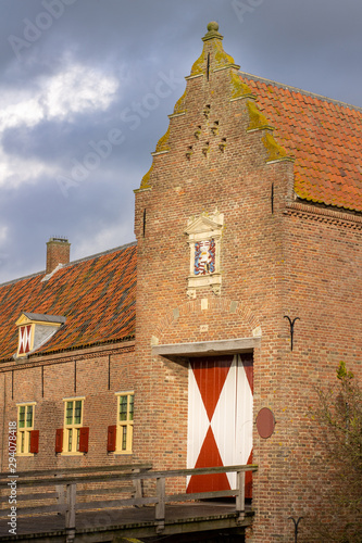 Fotografie, Obraz Kasteel Ammersoyen - Stables Entrance Dutch Medieval Castle 12th Century in the