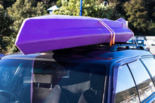 Trip Vacation Tied Kayak Boat On Top Roof Car In Park