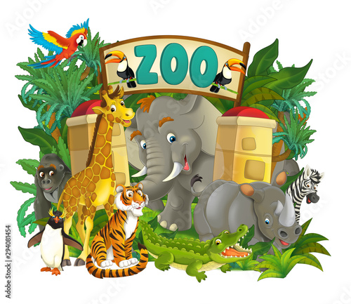 Cartoon zoo scene near the entrance with different animals - amusement park - illustration for children