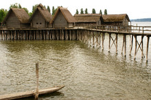 The Pfahlbaumuseum Unteruhldingen Or Stilt House Museum Situated Along The Bodensee, Germany. Reconstructions Of Stilt Houses Or Lake Dwellings From The Iron Age